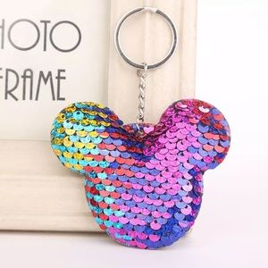 Accessories - Rainbow Mickey purse charm keychain sequins NEW